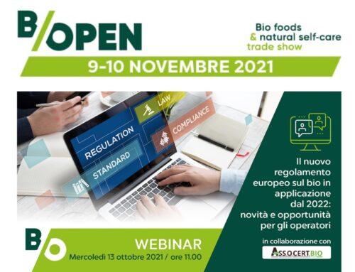 Mercoledì 13 ottobre, il webinar di B/Open dedicato al nuovo regolamento europeo sul biologico